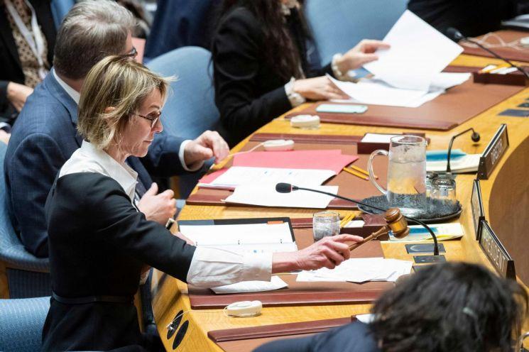 11일(현지시간) 미국 뉴욕 유엔본부에서 캘리 크래프트 유엔주재 미국 대사가 안보리 회의를 주재하고 있다./사진=연합뉴스