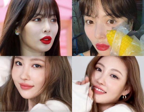 가수 현아, 메이크업 아티스트 이사배. 사진=뉴스1, 현아 인스타그램, 이사배 유튜브 화면