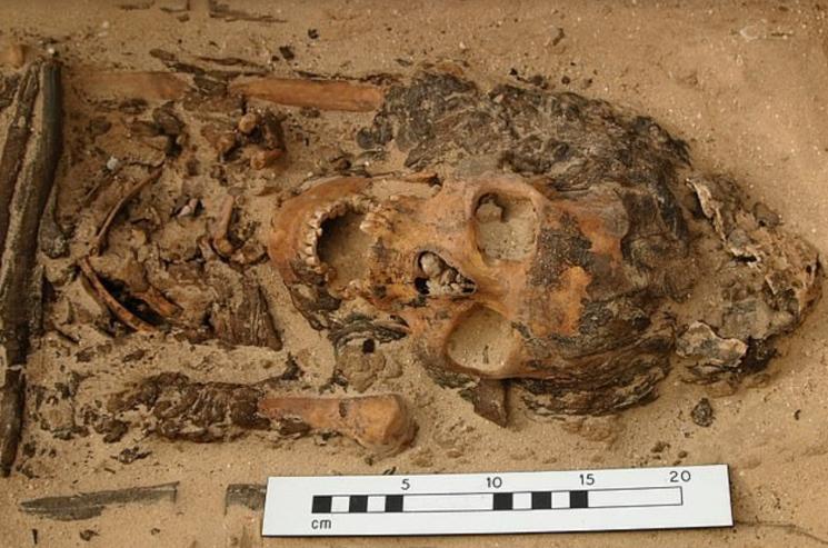 3300년 전 이집트 무덤서 발견된 유골. 20대 여성으로 추정/사진=영국 데일리메일 화면 캡처