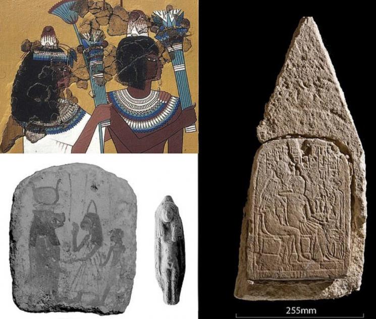 고대 이집트 유적에서 묘사되는 원뿔모양 머리 장식/사진=영국 데일리메일 화면 캡처