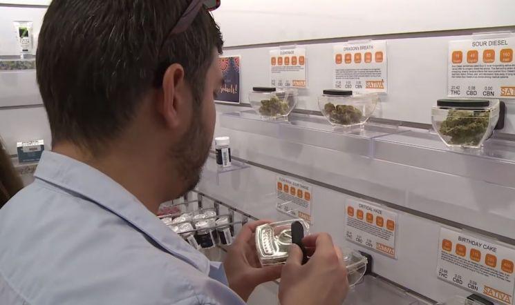 마리화나를 판매하는 미국 내 한 매장의 모습. [사진=유튜브 화면캡처]
