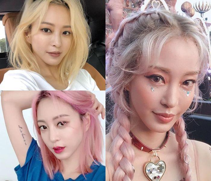 금발, 핑크 머리를 소화한 한예슬.