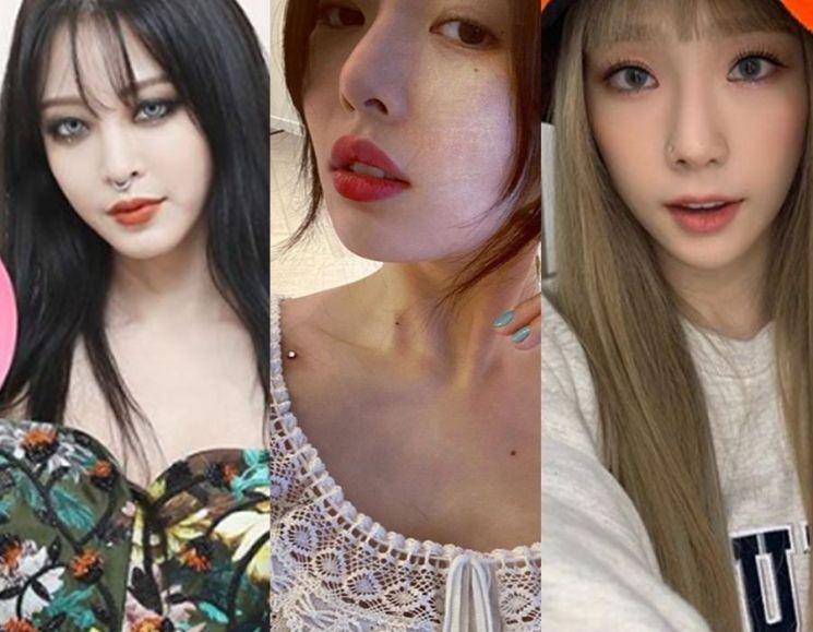 배우 한예슬, 가수 현아, 태연. 사진=한예슬, 현아, 태연 인스타그램
