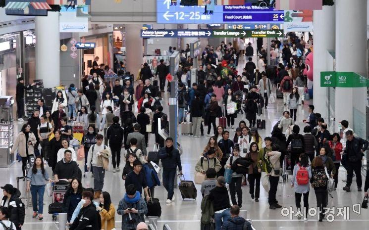 지난 한 해 인천국제공항 이용객이 2001년 개항 이후 처음으로 7천만명을 넘기며 연간 여객 수 기록을 또다시 경신했다. 인천공항공사에 따르면 2019년 인천공항을 이용한 전체여객은 전년보다 약 4.3% 증가한 7천116만9천여명으로 집계됐다. 사진은 9일 인천공항 면세구역 모습./영종도=김현민 기자 kimhyun81@