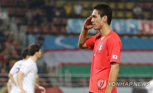 15일 오후(현지시간) 태국 랑싯 탐마삿 스타디움에서 열린 2020 아시아축구연맹(AFC) U-23 챔피언십 한국과 우즈베키스탄의 조별리그 최종전. 한국 오세훈이 결승 골을 넣고 세리머니를 하고 있다./사진=연합뉴스