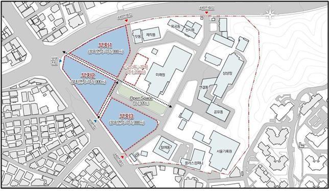 서울혁신파크 전면부 토지 및 개발 배치 계획