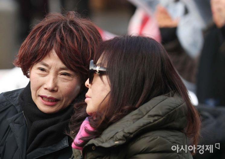 [포토]주말 보수 집회 찾은 주옥순 엄마부대 대표