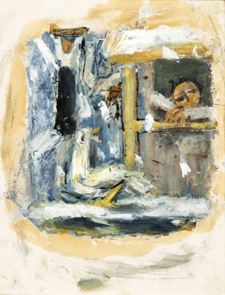 이중섭 '돌아오지 않는 강', oil on paper, 18.5×14.6㎝, 1956  [사진= 케이옥션 제공]