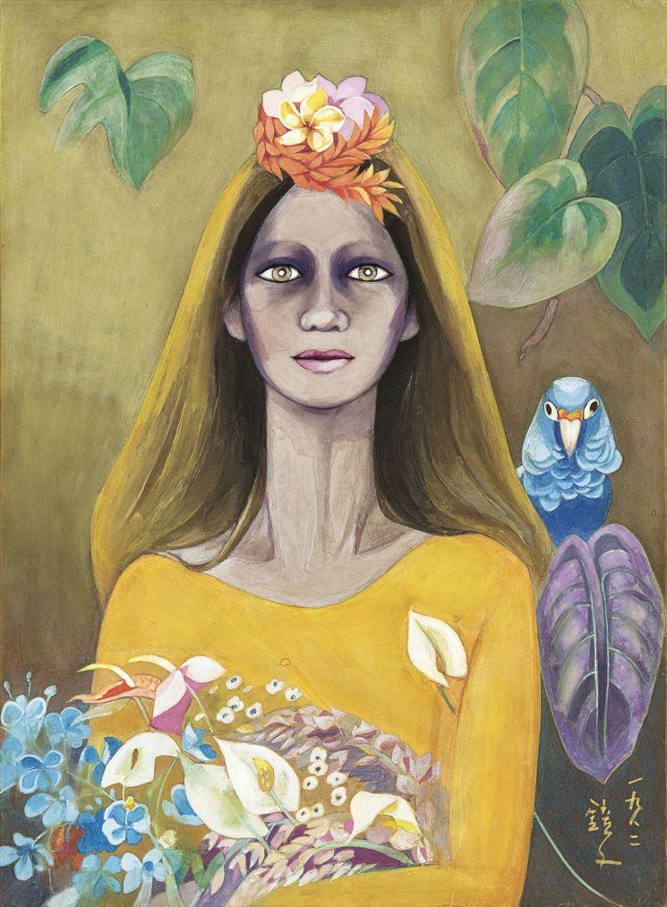 천경자 '꽃을 든 여인(A Woman with Flowers)', pigment on paper, 48×35㎝, 1982   [사진= 케이옥션 제공]