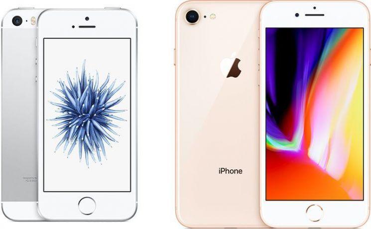 아이폰SE(왼쪽)와 아이폰 8