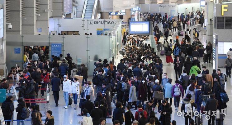 [포토] 북새통 이루는 인천공항 출국장