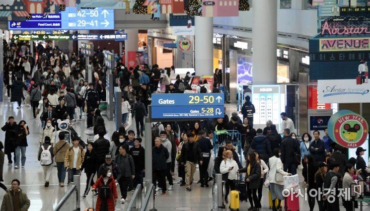 23일 인천국제공항 제1터미널 출국장 면세구역이 해외로 떠나려는 이용객들로 북적이고 있다. 인천공항공사는 설 연휴가 포함된 23~27일 이용객을 103만9144명(하루 평균 20만7829명)으로 전망했다./영종도=김현민 기자 kimhyun81@