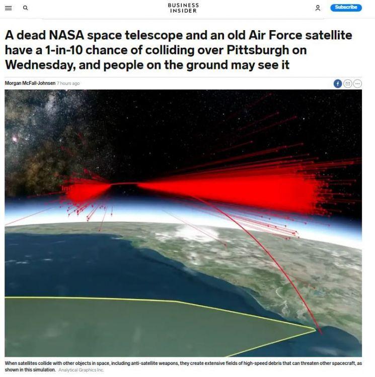 미국의 비즈니스 인사이더는 미국 소속 위성 2기가 충돌 가능성이 높다는 내용의 기사를 28일(현지시간) 보도했다.