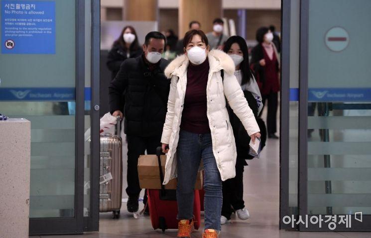 중국인 관광객들이 인천국제공항 제1터미널 입국장으로 들어오는 모습.