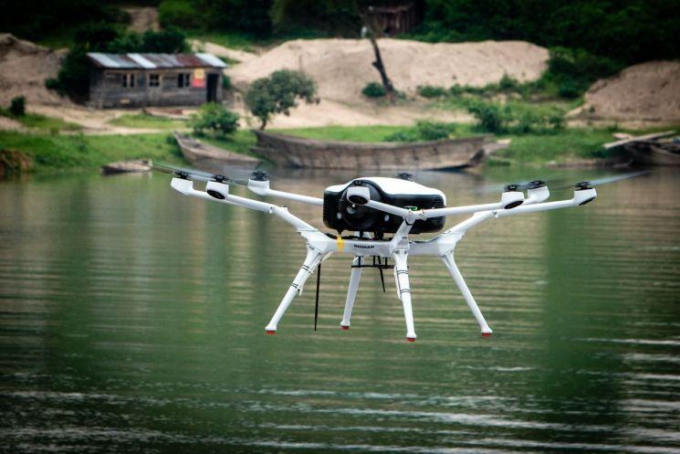 시범 비행을 선보이고 있는 두산모빌리티이노베이션 수소드론 DS30/사진제공=두산모빌리티이노베이션