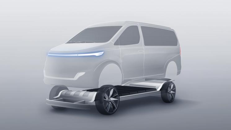 어라이벌이 개발한 상용 전기차 스케이트보드 플랫폼 개념도