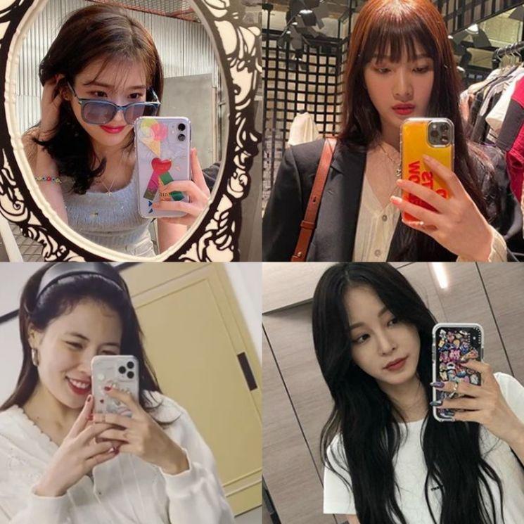 가수 아이유, 레드벨벳 조이, 현아, 배우 한예슬. 사진=아이유, 조이, 현아, 한예슬 인스타그램