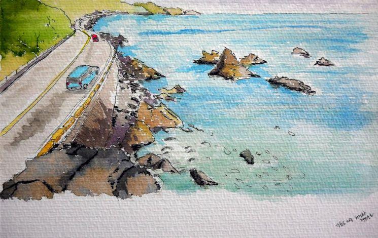 철조망이 사라진 거진 해안도로를 그린 풍경
