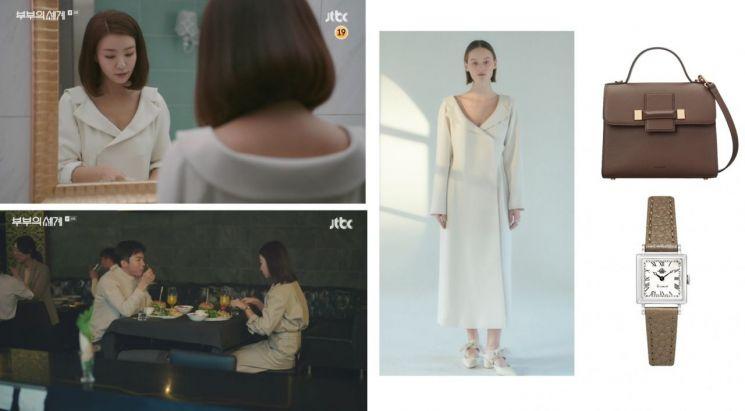 사진=JTBC '부부의 세계' 방송 화면, 원피스 : 레하 / 가방 : 쿠론 / 시계 : 로즈몽