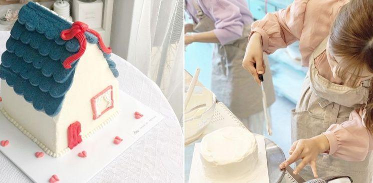 (좌) 러브하우스 모양의 디자인 케이크. (우) 베이킹 클래스 모습. 사진=자전거소녀의 작업실