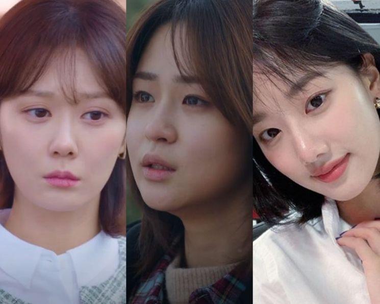 배우 장나라, 심은우, 그룹 에이프릴 이나은. 사진=tvN '오 마이 베이비', JTBC '부부의 세계' 방송 화면, 이나은 인스타그램