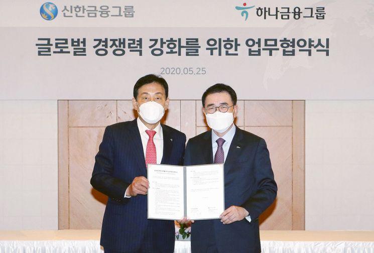 김정태 하나금융그룹 회장(왼쪽)과 조용병 신한금융그룹 회장