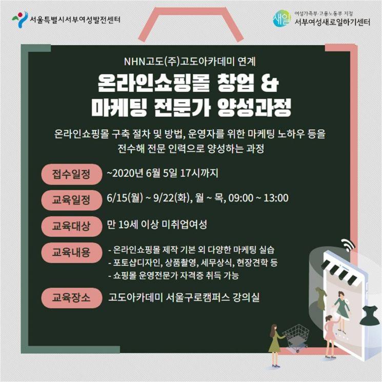 서부여성발전센터, 온라인쇼핑몰 창업·마케팅전문 인력 양성과정 운영