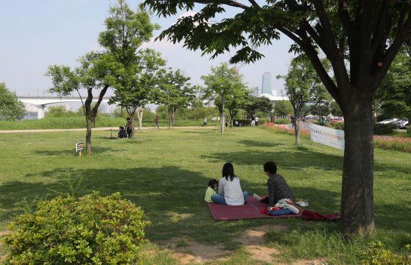 전국이 맑고 초여름 날씨를 보인 29일 서울 영등포구 양화한강공원을 찾은 시민들이 나무 그늘에서 휴식을 취하고 있다./김현민 기자 kimhyun81@