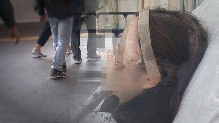 한 30대 여성이 서울역에서 일면식이 없는 한 남성에게 이른바 '묻지마 폭행'을 당했다. 사진=SBS 방송화면 캡처.