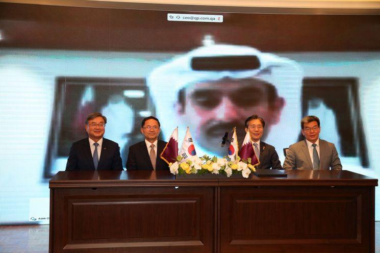 한국 조선업체들이 카타르의 대규모 액화천연가스(LNG)선 프로젝트를 따냈다. 카타르 국영 석유사 카타르페트롤리엄(QP)은 1일 현대중공업, 삼성중공업, 대우조선과 LNG선 관련 협약을 맺었다고 밝혔다. 이날 협약식은 화상으로 열렸다. 한국 측에서는 이성근 대우조선해양 사장, 남준우 삼성중공업 사장, 성윤모 산업통상자원부 장관, 가삼현 현대중공업 사장(왼쪽부터)이, 카타르 측에서는 사드 알 카아비 카타르 에너지 장관 겸 QP 대표(화상 화면)가 협약식에 참석했다.