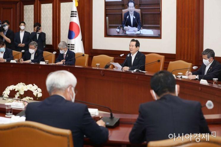 [포토]정세균 총리 주재로 열린 국정현안점검조정회의