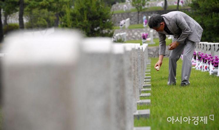 [포토] 전사자 묘역 참배하는 유족