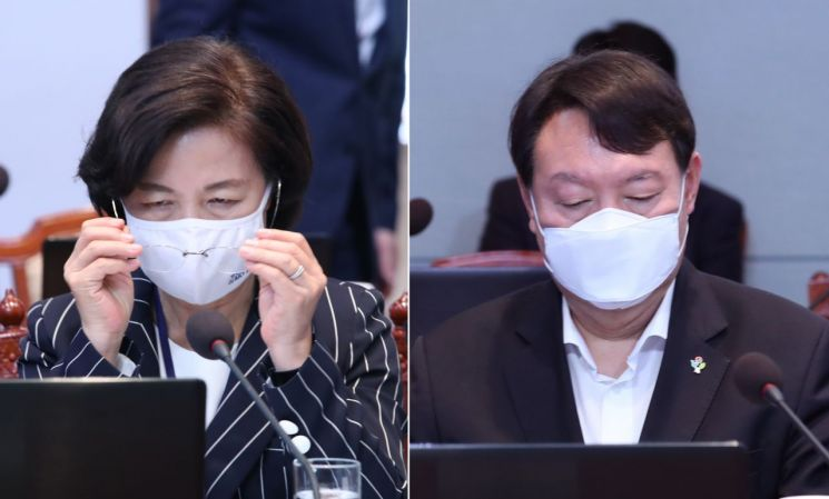 추미애 법무부 장관과 윤석열 검찰총장(오른쪽) [이미지출처=연합뉴스]
