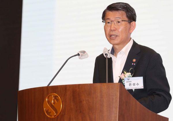은성수 금융위원장이 24일 서울 중구 신한은행 본점에서 열린 보이스피싱 예방 서비스 시연행사에서 발언하고 있다. /문호남 기자 munonam@