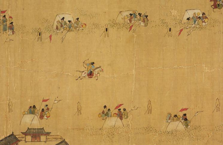1664년 함경도 길주에서 개최된 무과시험 장면을 그린 기록화인 '북새선은도'에 나온 무과시험장의 모습[이미지출처=국립중앙박물관 홈페이지]