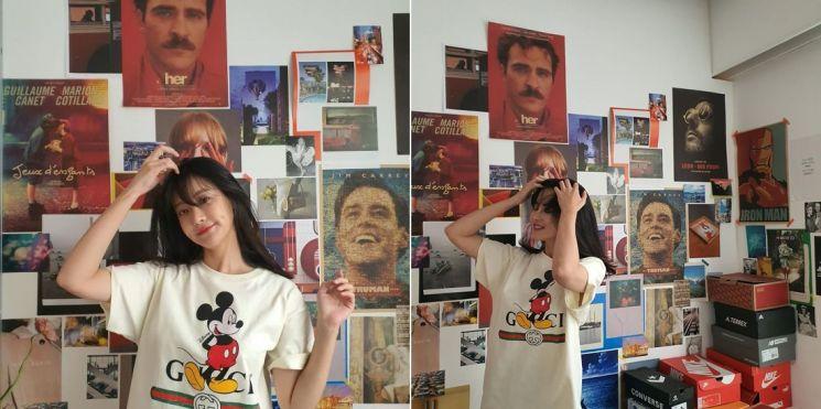 미키마우스가 그려진 티셔츠를 입고 있는 오연서. 사진=오연서 인스타그램