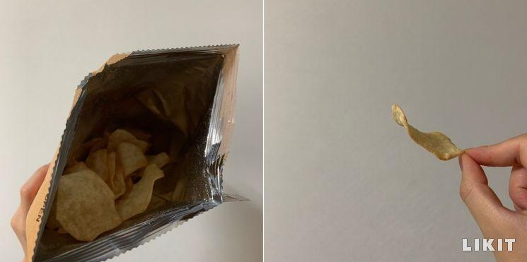 봉지 내부와 감자칩.