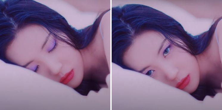 유니크한 메이크업. 사진='보라빛 밤' 뮤직비디오