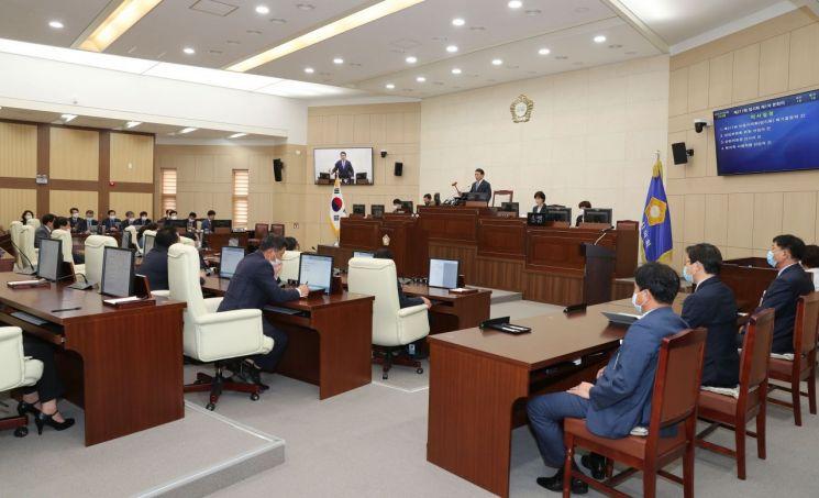지난 6일 열린 안동시의회 본회의장 모습.