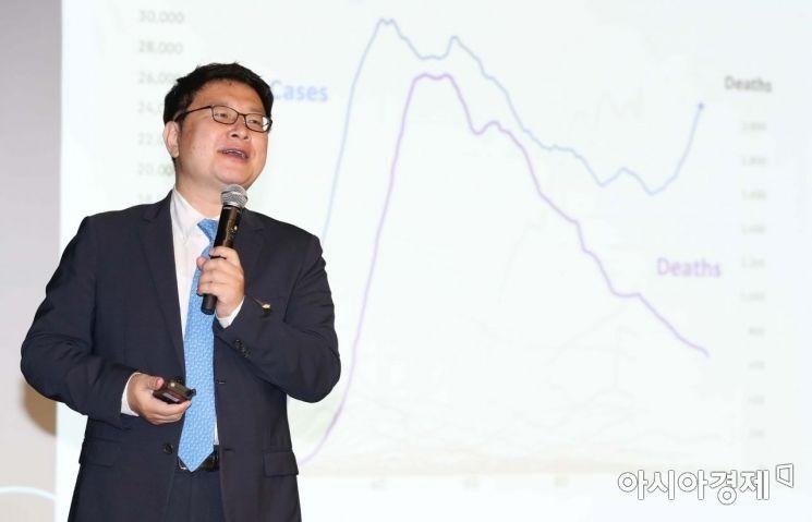 홍춘욱 이코노미스트가 9일 서울 중구 은행회관에서 열린 2020 골드에이지 포럼에서 '포스트 코로나 시대 재테크 전략'을 주제로 발표하고 있다. /문호남 기자 munonam@