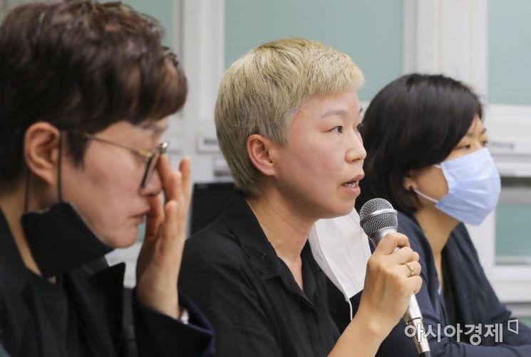 [포토]발언하는 김재련 변호사