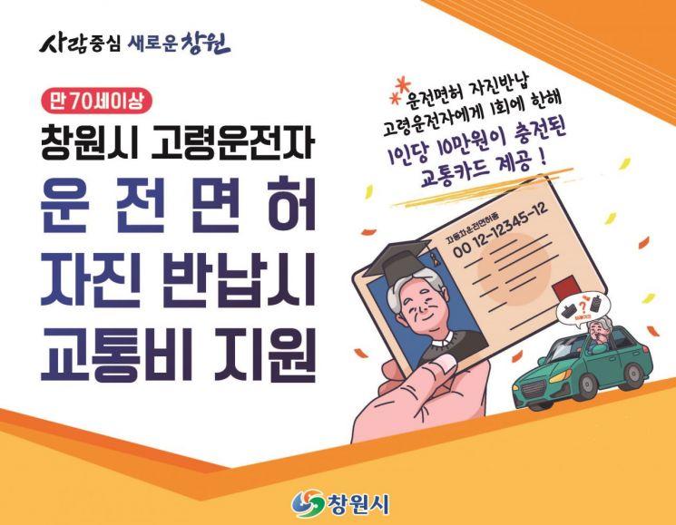 고령 운전자 운전면허 자진반납과 교통비 지급 포스터.(사진=창원시)