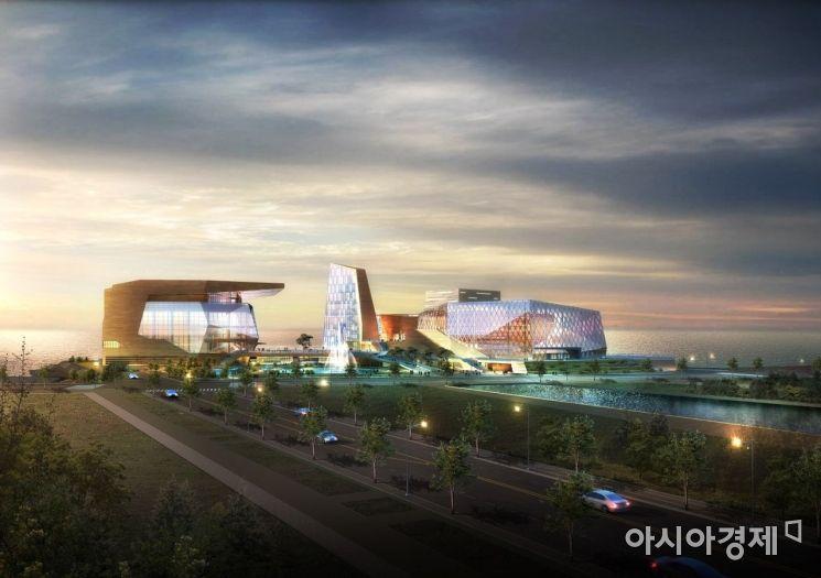 '아트센터 인천' 조감도. 왼쪽이 2018년 1단계로 개관한 콘서트홀이며, 그 옆에 2단계 사업으로 뮤지엄과 오페라하우스가 건립될 예정이다. [인천경제청 제공]