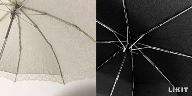 에디터의 양산들. 왼쪽처럼 안쪽이 흰색인 것은 눈부심이 심하다.
