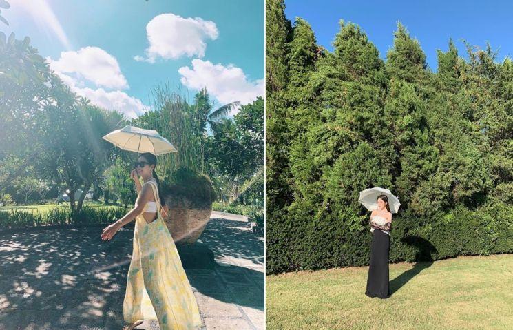 양산을 쓴 배우 기은세와 레드벨벳 아이린. 사진=기은세, 아이린 인스타그램
