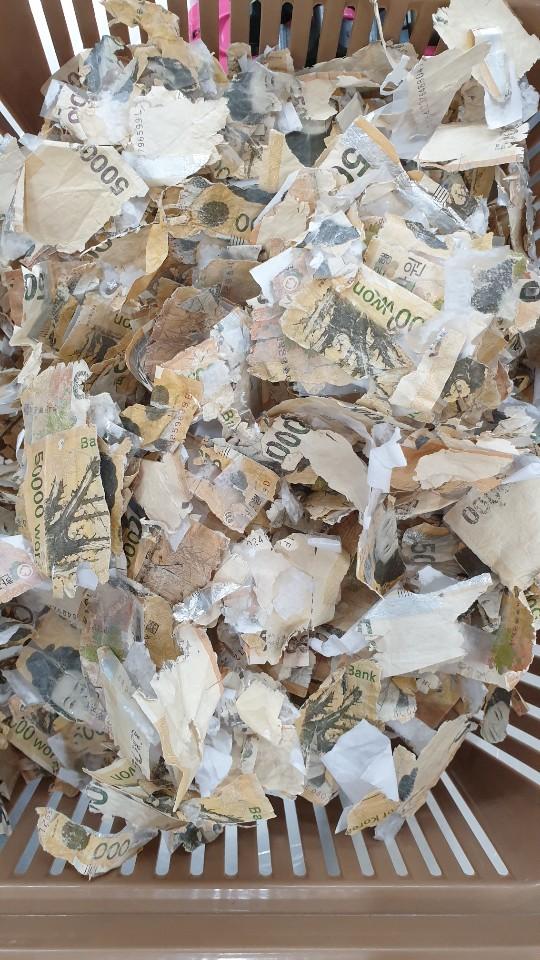 세탁기 사용으로 훼손된 지폐