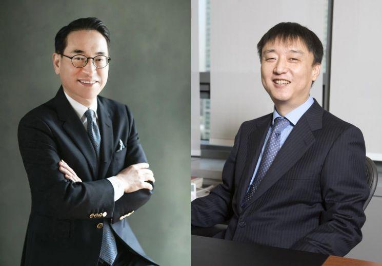 홍원표 삼성SDS 대표(왼쪽)와 이준호 NHN 회장.