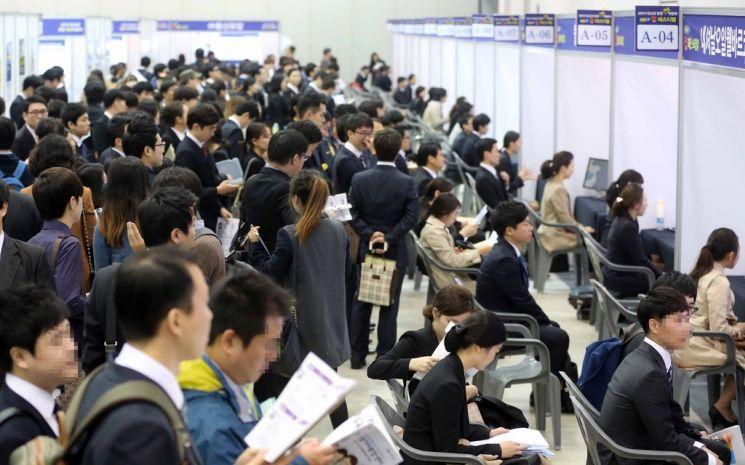 채용 박람회를 찾은 청년 구직자들 [연합뉴스 자료사진]