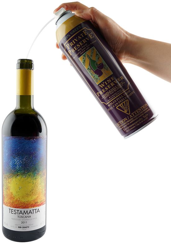공기보다 무거운 기체를 분사해 와인을 보호하는 [프라이빗 프리저브] 산화 방지제