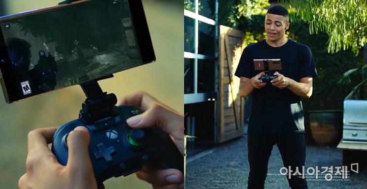 게이머 미스(Myth)가 갤럭시노트20를 컨트롤러와 연동해 엑스박스 게임을 플레이하고 있다.(출처=갤럭시 언팩 영상 캡처)